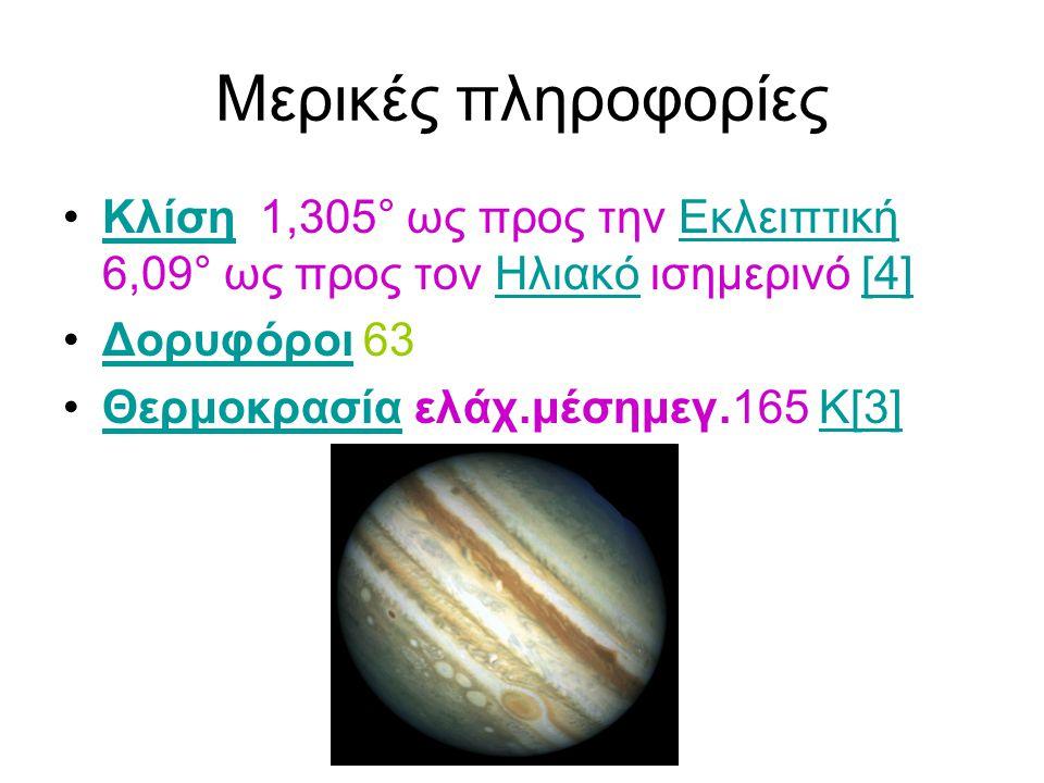Μερικές πληροφορίες Κλίση 1,305° ως προς την Εκλειπτική 6,09° ως προς τον Ηλιακό ισημερινό [4] Δορυφόροι 63.